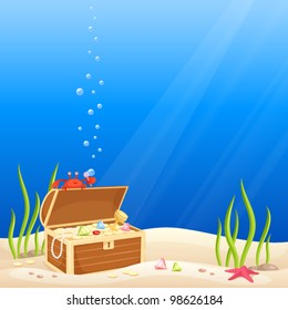 cute crab making bubbles on the occasion of discovering a treasure chest with gold and jewels
