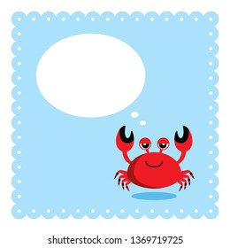cute crab message card vector