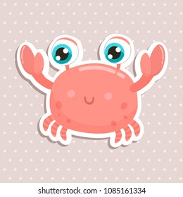 Cute crab sticker vector illustration. Flat design