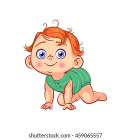 Cute crawling little baby boy. Sweet smiling cartoon toddler character with red hair. Baby emotions. Child development, first year. Colorful vector illustration isolated on white background.