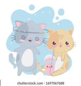cute crazy gray cat and kitty with milkshake kawaii cartoon character vector illustration
