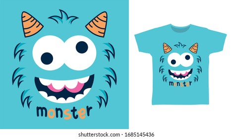 Cute crazy monster face design vector illustration ready for print on t-shirt, apparel, poster and other uses