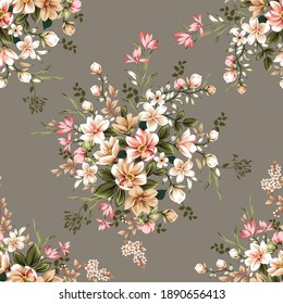 cute cream and pink vector flowers leaves bunches pattern on grey background