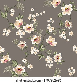 cute cream vector flowers with green leaves pattern on brown background