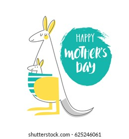 Cute creative card template: Happy Mother's day. Hand Drawn illustration with mother-kangaroo and baby- kangaroo for Mother's day. Vector illustration in turquoise, yellow and gray colors.