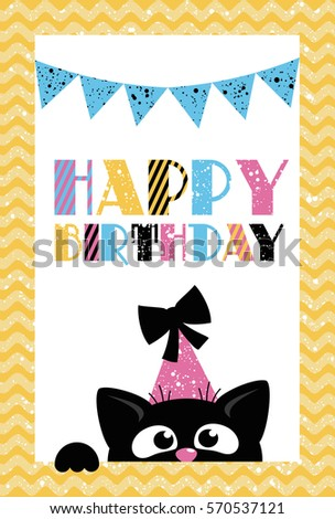 Cute Creative Cards Templates Happy Birthday Stock Vector Royalty
