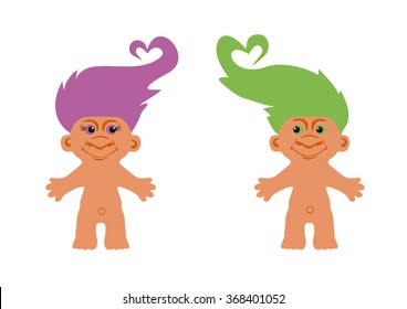 Cute creatures with colored hair. No ugly goblin, but nice monster. Loving couple trolls. Funny vector illustration. Cartoon character troll. White background with Trolls