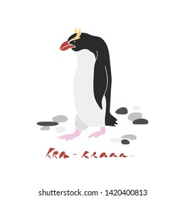 Cute crested penguin vector hand drawn illustration. Sea bird with stones and inscription Kra isolated clipart. Postcard design element, kids game, book, t-shirt, textile