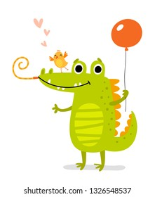 Cute crocodile and bird. greeting card
