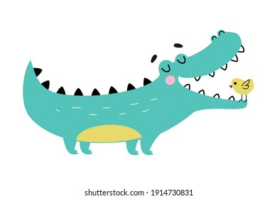 Cute Crocodile with Birdie in Wide Open Mouth, Funny Alligator Predator Animal Character Cartoon Style Vector Illustration