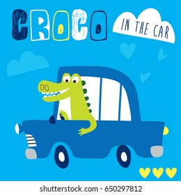cute crocodile in the car vector illustration