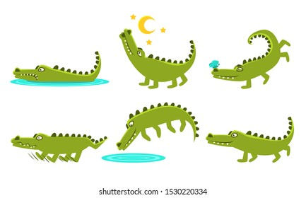 Cute Crocodile Cartoon Character In Different Poses Set, Funny Amphibian Animal with Different Emotions Vector Illustration