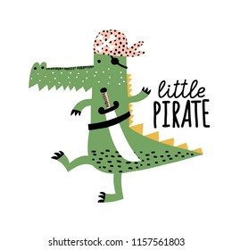 Cute crocodile. Cartoon creative alligator vector illustration in scandinavian style. Vector Illustration. Can be used print print for t-shirts, home decor, posters, cards.