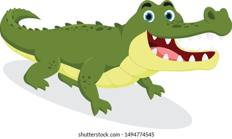 Cute crocodile cartoon , isolated on white background