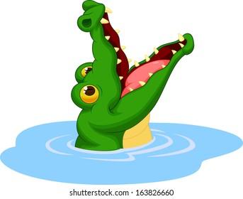 Cute crocodile cartoon open its mouth