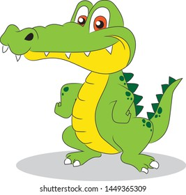 Cute Crocodile Cartoon Standing on Two Legs