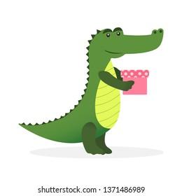 Cute crocodile character with a gift box.