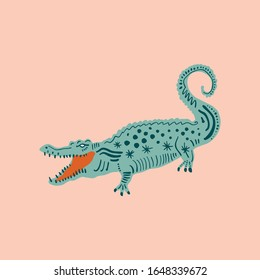 Cute crocodile with color background, alligator tees, cool animal collage print, cartoon character art