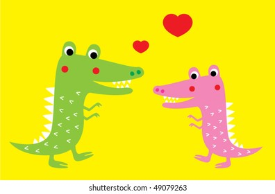 cute crocodile couple greeting