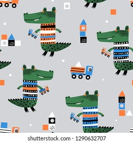 Cute crocodile playing with truck. Baby seamless pattern. Creative vector childish background for fabric, textile, nursery wallpaper. Scandinavian style.