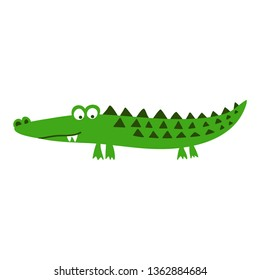 Cute Crocodile print design- funny hand drawn doodle, cartoon alligator. Good for Poster or t-shirt textile graphic design. Vector hand drawn illustration.