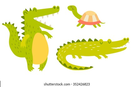 Cute crocodiles and turtle family. Vector illustration, isolated on white background