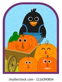 Cute crow holds a wheelbarrow and stands with a group of smiling pumpkins. Eps10