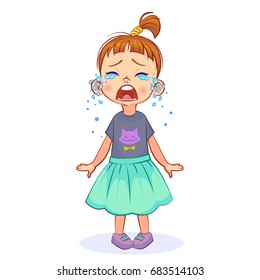 Cute crybaby girl stands and sheds tears, wide-open mouth. Vector cutout kids art.