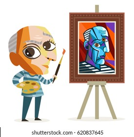 cute cubism painter cubist painting