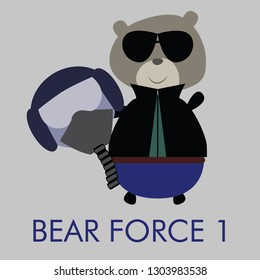 Cute and cuddly fighter pilot style teddy bear vector illustration. Cool and fancy design for t-shirts, book illustrations.