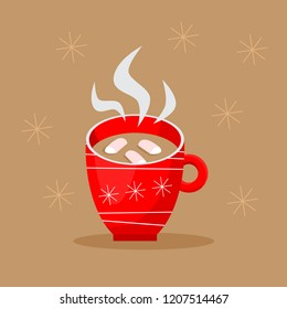 cute cup of hot cocoa in christmas design