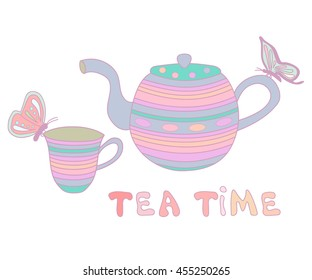 Cute cup of tea, teapot and butterflies, vector illustration