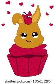 cute cupcake with cherries and bunny in kawaii style. Vector file eps 10