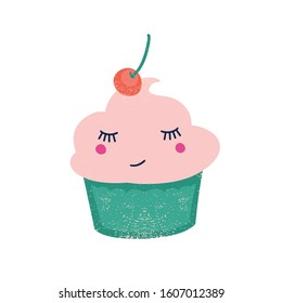 Cute cupcake with cherry flat vector illustration. Creamy confection with berry on top cartoon character. Funny fruit flavored dessert. Sweet smiling cake isolated on white background.