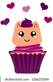 cute cupcake with kitten in kawaii style. Vector file eps 10