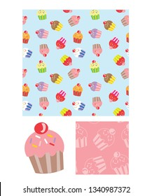 Cute cupcake repeat vector pattern and icons