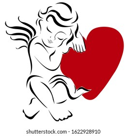 Cute Cupid and an angel of love with a heart, wings, and feathers. Silhouette for Valentine's day, .Angel with a red heart, only the outline, on a white background.Element for your design.