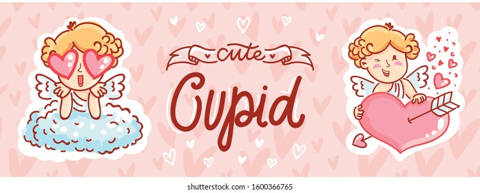 Cute Cupid boy character holding big heart, madly in love . Hand drawn cute illustrations with lettering text on romantic pink background in cartoon style.