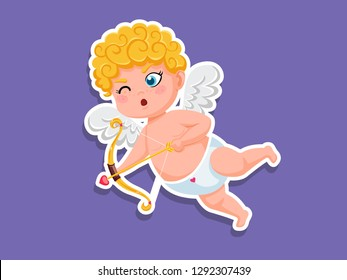 Cute cupid cartoon Sticker with bow and arrow. Vector Illustration elements of a Valentine's Day. Greeting card design, posters, gift tags and labels