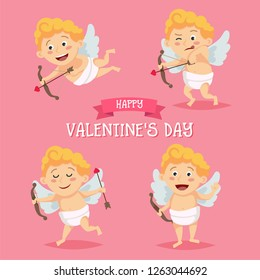 Cute Cupid character set in different poses. Happy Valentine's day template in cartoon style, love letter with lettering