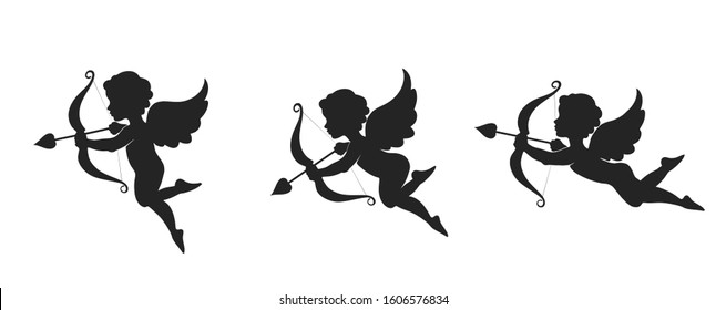 Cute cupid icon set. love, wedding and valentines symbol. Cupid with bow and arrow. isolated vector silhouette image