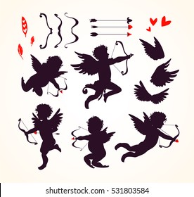 Cute Cupids and amour angels with hearts, arrows, bows, wings, feathers. Silhouette set for Happy Valentines day decorations, separated editable elements. Hand drawn vector illustration.