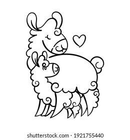 Cute curly llama mom with baby. Vector illustration for coloring pages, children and adult prints, Mother Day