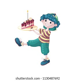 A cute, curly-haired boy in a baseball cap, striped shirt and green breeches carries a large plate with a piece of birthday cake. Vector cartoon character for drawing a greeting card or invitation.