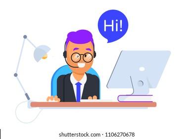 Cute customer support agent illustration