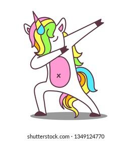 cute dab unicorn cartoon isolated vector