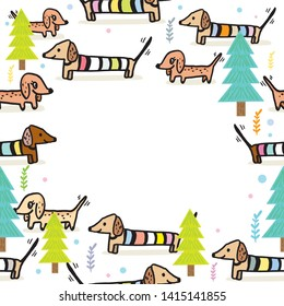 Cute dachshund puppy in the snow vector,cute dog play a ball in the snow,Vector illustration for Merry Christmas and Happy New Year,Cute dog in simple cartoon style,Illustration of cute dachshund