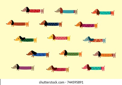 cute dachshund puppy vector collection