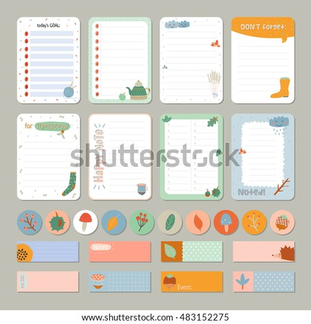 cute daily calendar and to do list template note paper and stickers set with vector