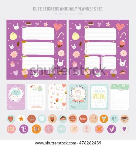 cute daily calendar template note paper のベクター画像素材